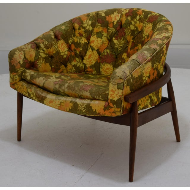 Barrel Back Tufted Floating Chair For Sale - Image 9 of 9