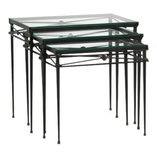 Trio of French Iron and Glass Nesting Tables For Sale
