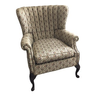 1940 Chippendale Channel Back Wingback Chair For Sale