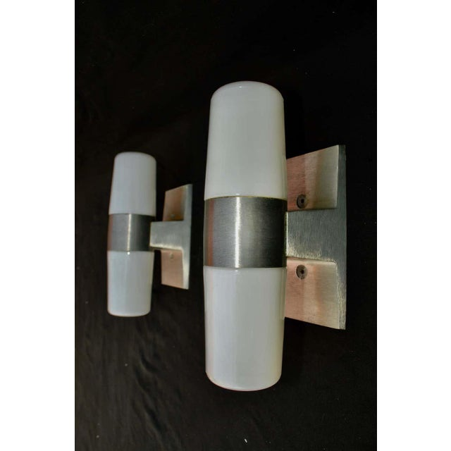 Mid-Century Modern White Glass and Silver metal Mid Century Outdoor/Indoor Sconces - a Pair For Sale - Image 3 of 5