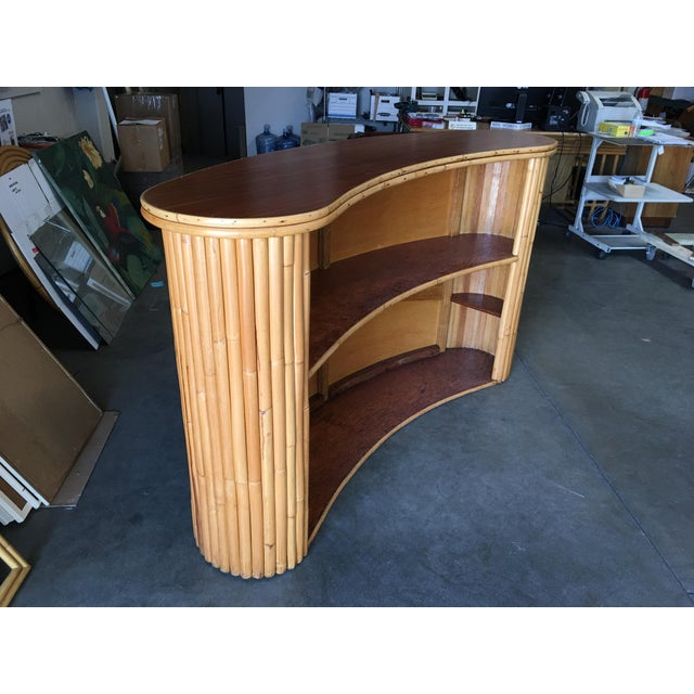 Wood Biomorphic Stacked Rattan Bar With Mahogany Front & Top For Sale - Image 7 of 10