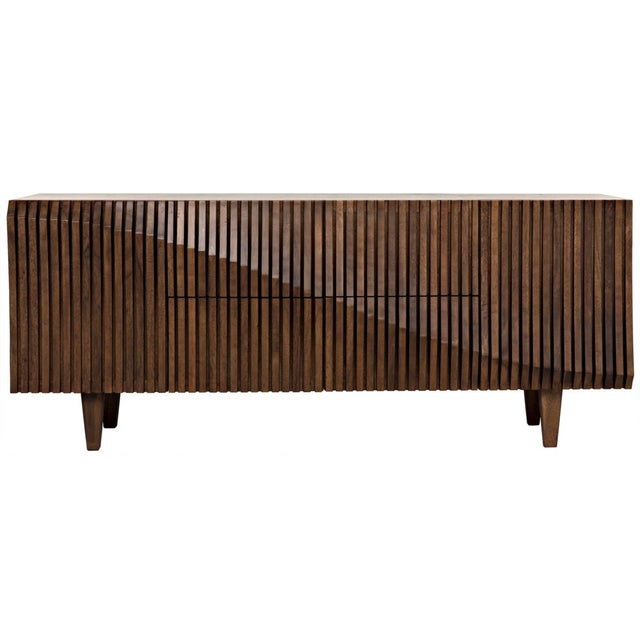Beautifully crafted in dark walnut, this sideboard makes a great statement for use in a great room for media storage,...