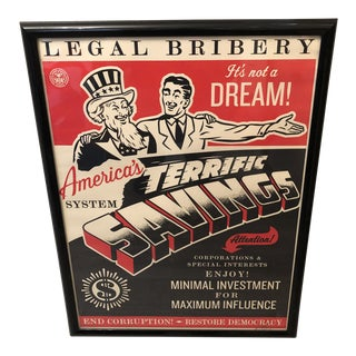 Shepard Fairey Signed and Numbered Framed Legal Bribery Lithograph For Sale