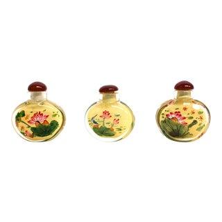 Lotus Reversed Painted Snuff Bottles - Set of 3 For Sale