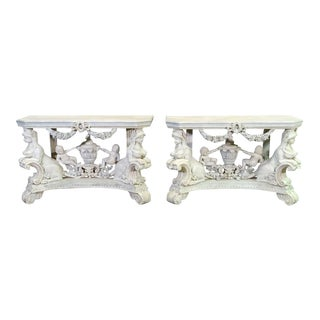 Continental Figural Rococo Cherub Putti Maiden Carved Base Console Tables, Pair For Sale