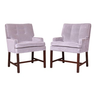 Paul Evans for Directional Club Chairs in Velvet, Pair For Sale