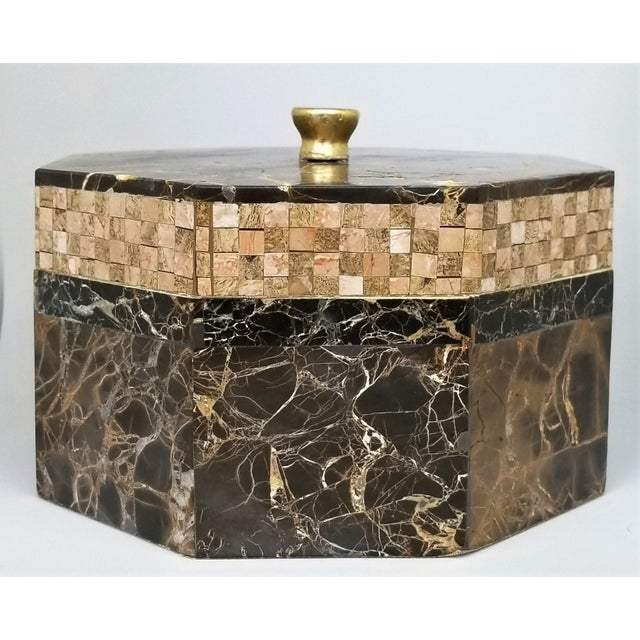 Art Deco Vintage Maitland Smith Tessellated Italian Portoro Marble Box - Mid Century Modern Palm Beach Boho Chic Jewelry For Sale - Image 3 of 11