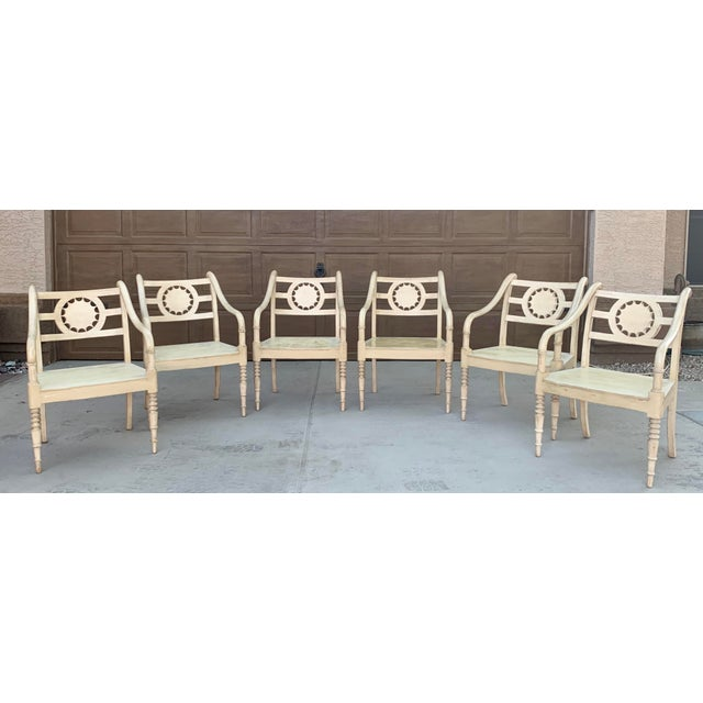 Cream Vintage Baker Furniture Milling Road French Country Dining Table and Six Chairs - Set of 7 For Sale - Image 8 of 11