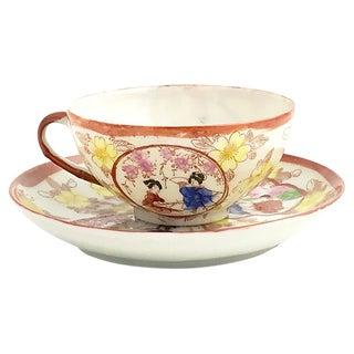 Japanese Geisha Porcelain Cup & Saucer For Sale