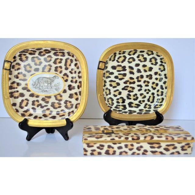 1970s Vintage Italian Mottahedeh Leopard Ceramic Set - 3 Pieces For Sale - Image 10 of 10