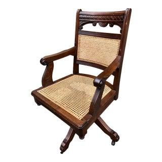 1930s Vintage Eastlake Office Desk Arm Chair For Sale