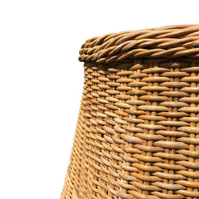 Boho Chic Boho Chic Round Wicker Bamboo Rattan Trompe l'Oeil Ghost or Draped Table in the Manner of Michael Taylor For Sale - Image 3 of 5