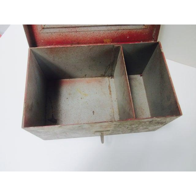 Vintage Rustic Metal Industrial Storage Tool Box For Sale - Image 5 of 8