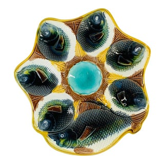19th Century Adams and Bromley English Majolica Fish Oyster Plate For Sale