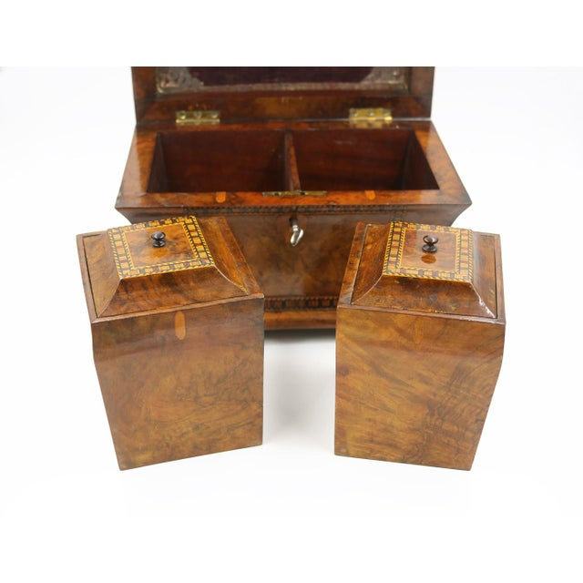 Mid 19th Century Vintage English Fully-Fitted Walnut Tea Caddy For Sale In San Francisco - Image 6 of 10