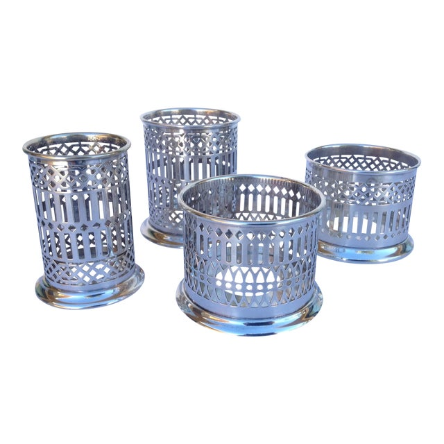 Vintage Silver Plate Celtic Pierced Syphons - Set of 4 For Sale