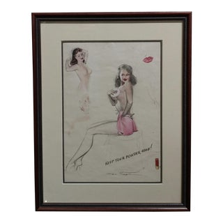 "1950s ""Pin-Up Study"" Original Drawing by Edgar Earl MacPherson For Sale"