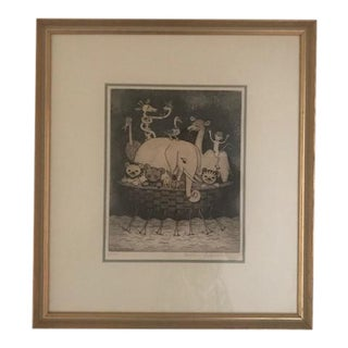 Vintage Signed & Numbered Etching Kids Print by Christine Chagnoux. Framed For Sale