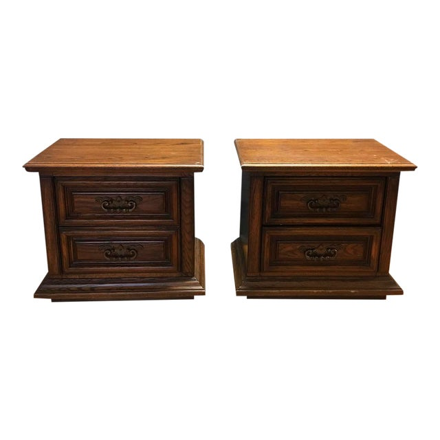 Thomasville Mid-Century Wooden Nightstands- A Pair - Image 1 of 9