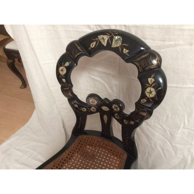 Italian Italian Lacquered Chair With Mother of Pearl For Sale - Image 3 of 11