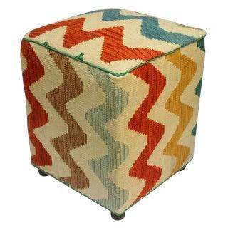 Arshs Corrina Ivory/Rust Kilim Upholstered Handmade Ottoman For Sale