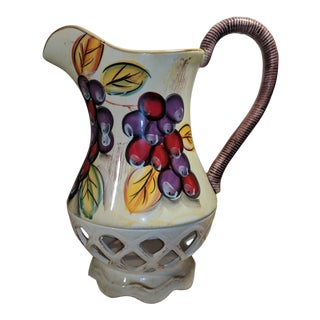1980s Vintage Large Hand Painted Ceramic Pitcher For Sale