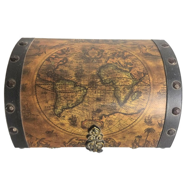 Vintage old world map wooden jewelry box chairish vintage old world map wooden jewelry box image 4 of 4 gumiabroncs Image collections