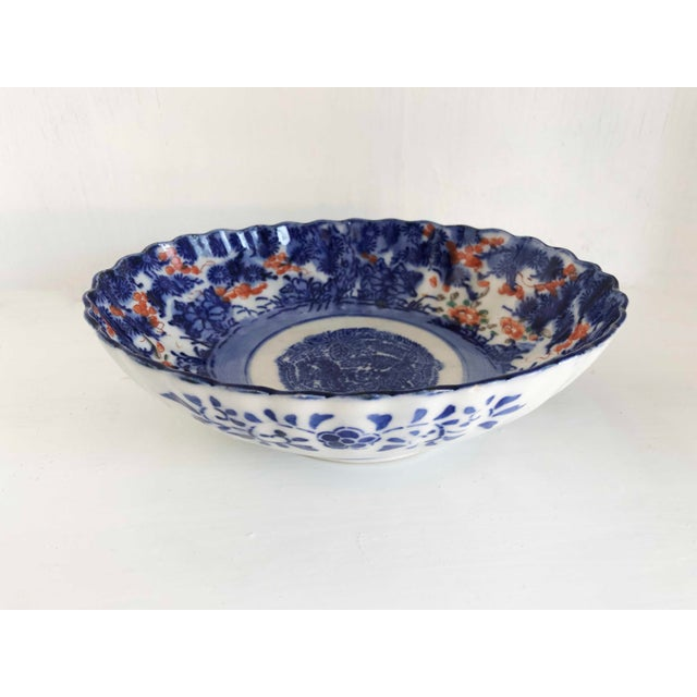 Antique Japanese Imari Oval Scalloped Bowl For Sale In Dallas - Image 6 of 12