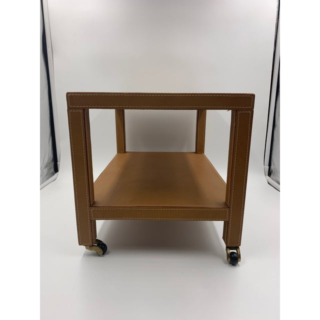 Contemporary Two Tier Dimuntive Leather Trolley on Casters For Sale - Image 3 of 10