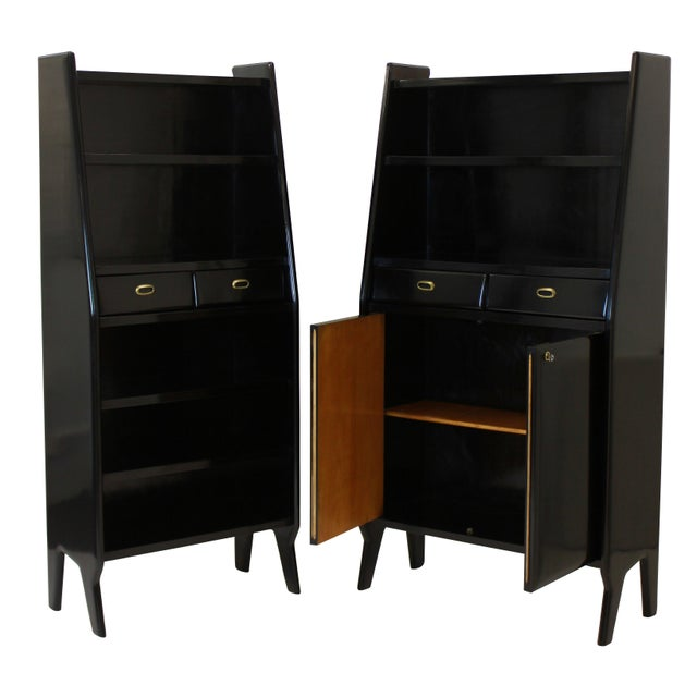 Italian A Pair of Large Ebonised Architectural Bookcases For Sale - Image 3 of 4