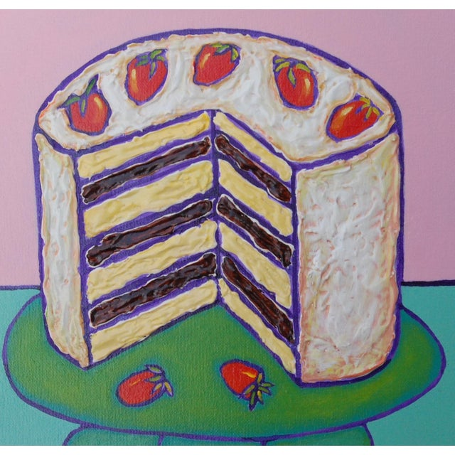 Contemporary Small Pop Art Mixed Media Strawberry Cake by Tom Melillo For Sale - Image 3 of 4