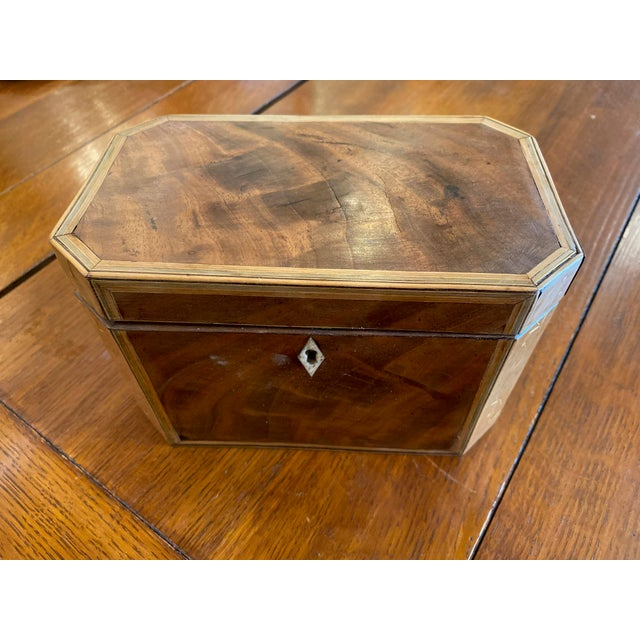 Brown 19th Century Antique Octagonal Wooden Tea Caddy For Sale - Image 8 of 9