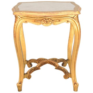 Carved Giltwood Accent Table With Mirrored Top For Sale