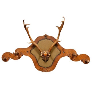 Victorian Carved Oak and Antler Coat/Hat Rack For Sale