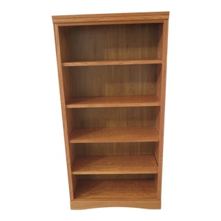 Transitional Solid Oak Open Bookcase For Sale