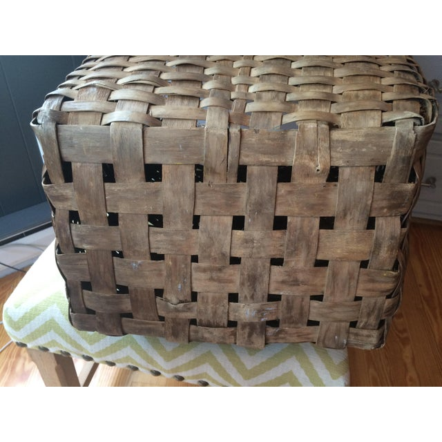 1950s Minimalism Leather and Wicker Picker's Basket For Sale - Image 6 of 8