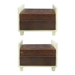 Chocolate Naugahyde Lacquered Wood Benches, circa 1940