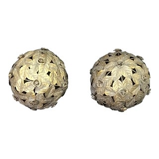 Italian Tile Silver Tole Leaf Balls - a Pair For Sale