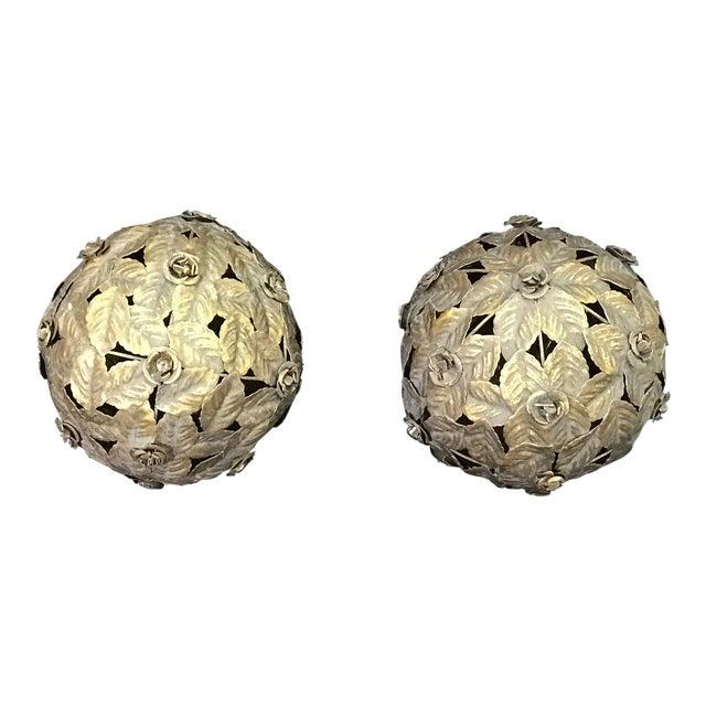 Italian Tile Silver Tole Leaf Balls - a Pair For Sale