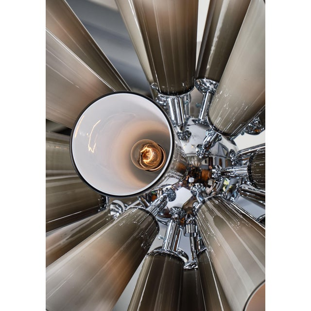 White Murano Glass Gray Sputnik Chandelier For Sale - Image 8 of 10