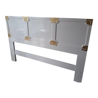 Chinoiserie Campaign Lacquered Henredon Full/Queen Headboard For Sale