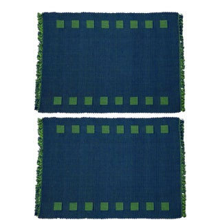 Squares Border Reversible Placemats Blue & Green - A Pair For Sale