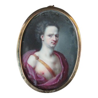 18th Century Portrait Painting of Virile Young Man Purple Grecian Robe For Sale