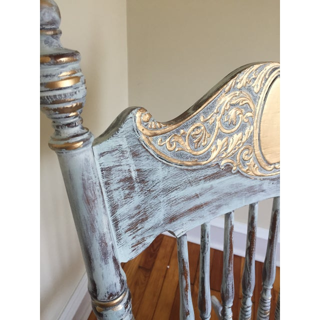 Wood Vintage Hand Painted Rocking Chair For Sale - Image 7 of 8