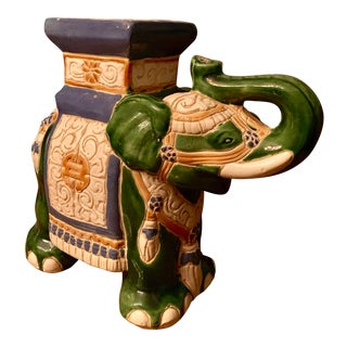 1960's Vintage Ceramic Trunk Up Elephant For Sale