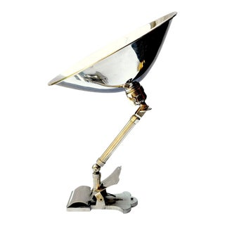 Nickeled Clamp Lamp, Hala Germany 1930s For Sale