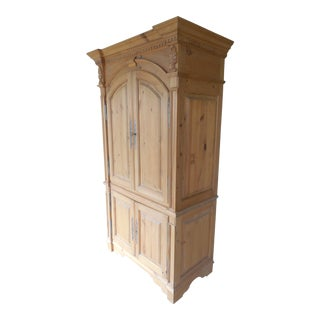French Country Style Natural Distressed Bar Cabinet For Sale