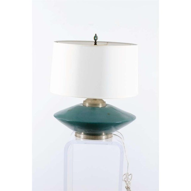 Traditional Stunning Pair of Turquoise Ceramic and Silver Lamps by Orno For Sale - Image 3 of 10