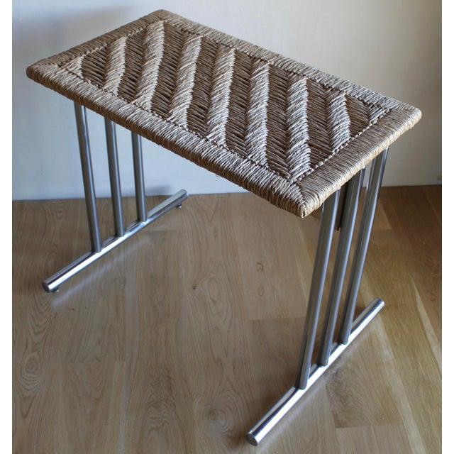 Mid Century Modern Chromcraft Woven Rush Rattan & Chrome Dining Table For Sale - Image 10 of 10