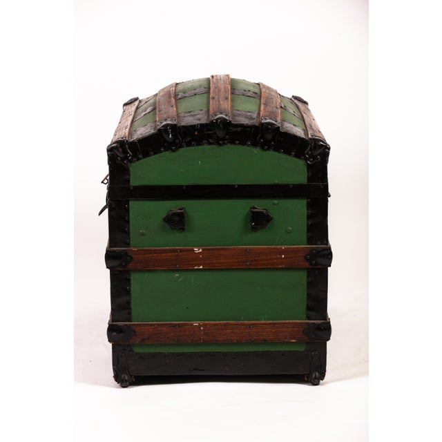 Traditional Antique Green Dome Carriage Trunk For Sale - Image 3 of 13